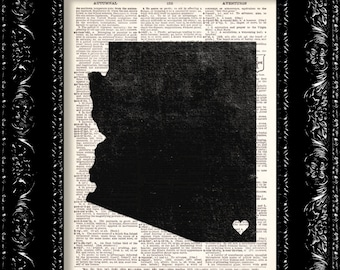 I Heart Arizona - State Map - Map Art Print Personalized - Vintage Dictionary Print Vintage Book Print Page Art  Vintage Book Art