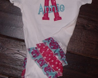 Boutique Hot Pink and Aqua Damask Ruffled Bodysuit with Initial or Number Sizes Newborn to 24M