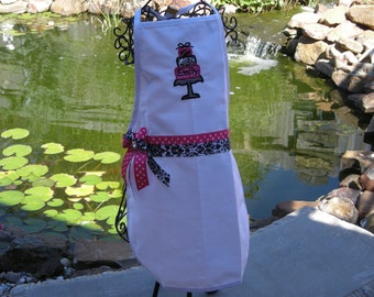 Childs Personalized Applique with Sweet three layer cake and name Apron