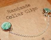 Handmade Collar clips - Rose illustration