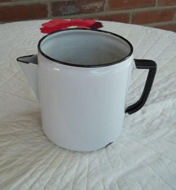 Vintage Porcelain Enamel Coffee Pot, Pitcher or Vase,  Has no Lid, White and Black