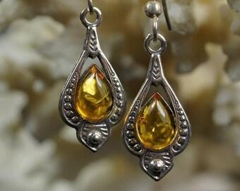 Baltic Amber Earrings Drop Earrings / Dangle Earrings/ Sterling Silver Earrings Gemstone Jewelry Earrings