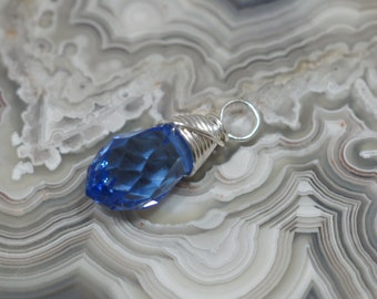 Wire wrapped Briolette Blue Topaz Color Glass Crystal Briolette 6X11 mm Wire Wrap Beads Add Dangle