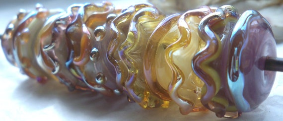 Lampwork Glass Beads-  Seventeen Hand-Made Champagne & Lilac Glass Beads SRAJD