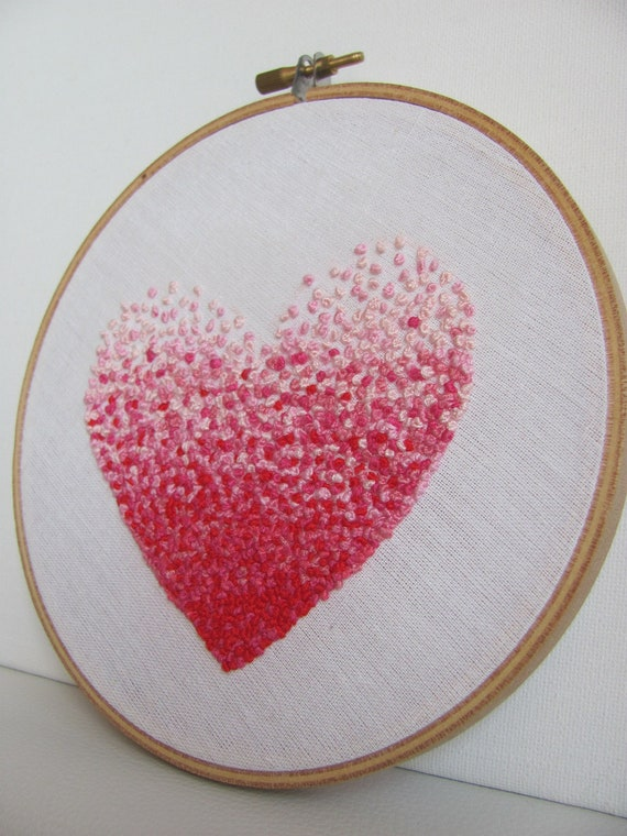 Items similar to embroidery french knot pink heart hoop