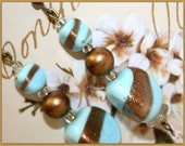 Elegant Handpainted Victorian, Antique Turqouise Glass Beads, Handmade Recycled Earrings. Gold Copper Fluss, Aqua