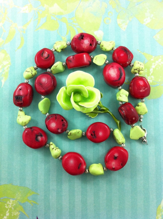 Red and Green Stone handmade necklace with vintage green flower brooch.