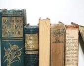 Shabby Chic 6 Book Teal Beige Burgundy  Autumn Collection Interior Design Vintage Book Decor
