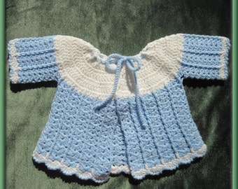 Blue and White Crocheted Baby Sweater