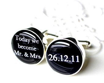 Mr and Mrs personalized date cufflinks