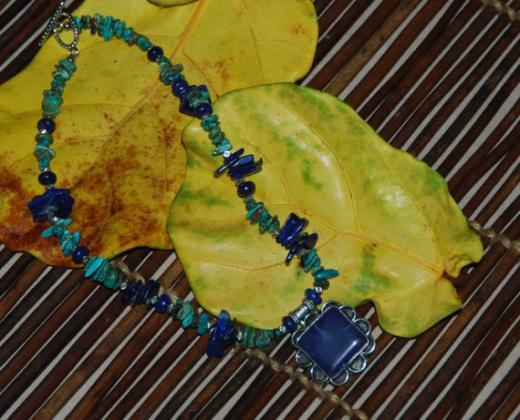 Afghan Lapis Silver Pendant with Lapis and Turquoise Necklace - AFFORDABLE