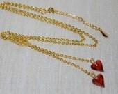Swarovski Crystal Wild Heart Lariat Necklace, Crystal Heart Lariat Necklace with Wire Crocheted Bead, Crochet Wire Jewelry