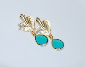 Sold Out, Bridesmaid Earrings, Bridal Earrings, Matte Gold Leaf Stud Earrings, Mint Faceted Glass Stone Drop Earrings, Mint