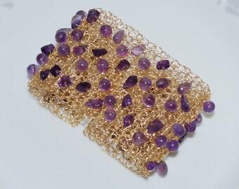 February Birthstone Crochet Wire Bracelet, Amethyst Cuff Bracelet, Gemstone Wire Cuff, Crochet Wire Jewelry