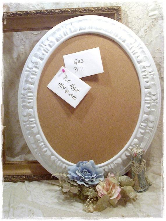 Vintage Shabby Upcycled Chic Ornate Mirror Frame Memo Cork Board