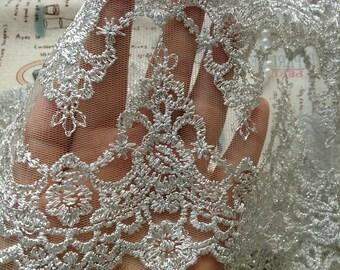 Vintage Lace Trim Silver Mesh Rococo Lace Silver Thread Double Brim for Costume Design, Corset