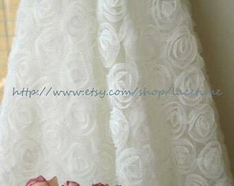 SALE --3D White Rosette Fabric Photography Prop Mesh Fabric Wedding Bridal Dress Alterations DIY Wide Costume Dress Fabric Crafts Supplies