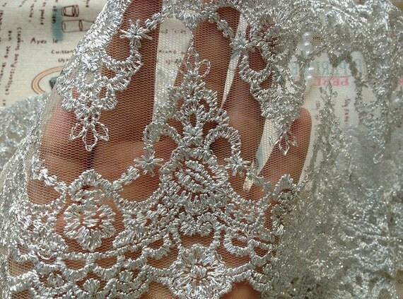 Vintage Lace Trim Silver Mesh Rococo Lace Silver Thread Double
