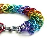 Rainbow chain mail bracelet, GSG weave