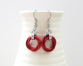 Red earrings, love knot earrings, chainmaille jewelry
