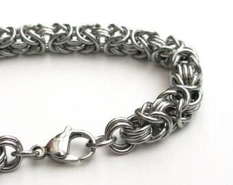 Stainless steel chainmail bracelet for men, Byzantine weave bracelet