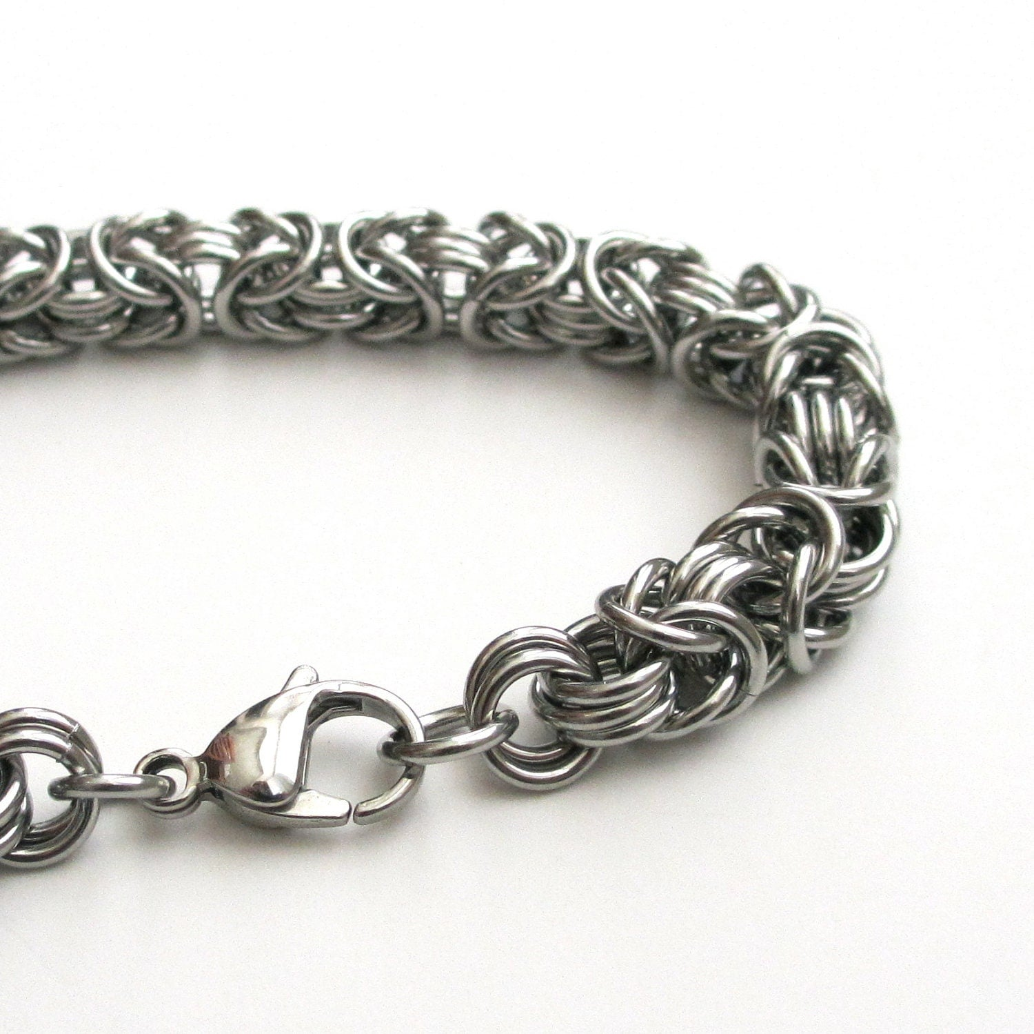 Make A Chain Mail Bracelet: Stainless Steel Chainmail Bracelet For Men Byzantine Weave