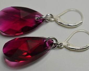 Ruby Swarovski Pear Shape Crystals With Sterling Silver Lever Back