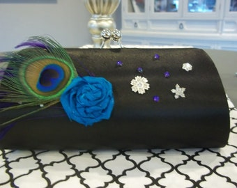 Wedding Clutch - Black Cocktail Clutch - Sparkle Peacock