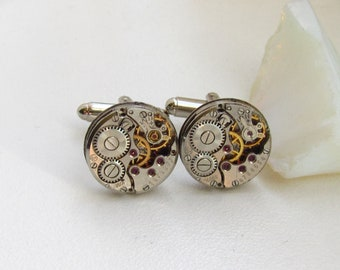 Steampunk Clockwork Cufflinks  vintage watch movements Gift for Him Mens Jewelry Gifts for Guys Cuff Links Birthday gift ideas Mens Gears