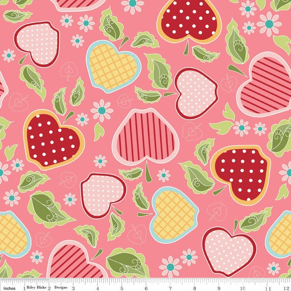 The Quilted Fish for Riley Blake, Apple of My Eye, Basket in pink, 1 yard