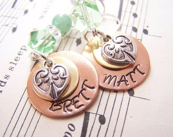 Mother's day  Gift Hypoallergenic Personalized Earrings, Hand stamped Earrings, Customized Jewelry, Customized Earrings, Holiday Gift Idea
