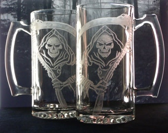 large beer mugs grim reaper  clear glass  custom glassware barware  for him wine and spirits gift ideas