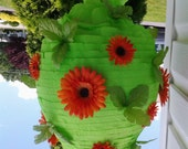 Easter Spring Pinata - Lime Green Orange Gerbera Daisy Flower Traditional Hitting Design Pinata (Ready to Ship - TODAY)