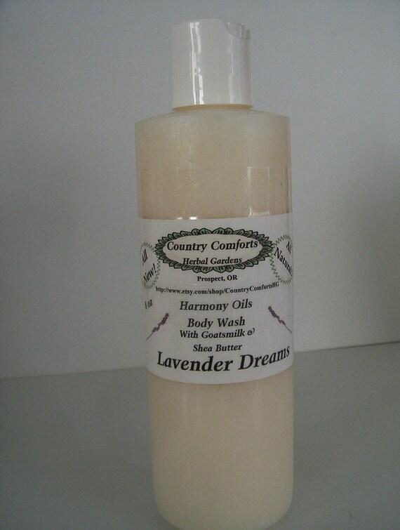 Natural Body Wash - Lavender Dreams - New Thick, Rich Formula, Shea Butter, Goats Milk, Silk Fibers, shower soap, skin cleaner - 8 oz bottle