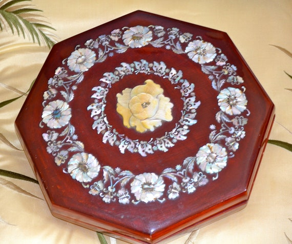 Vintage Jewelry Box with Mother of Pearl Inlay, Clearance Sale