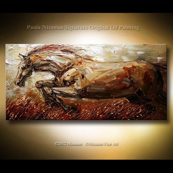 ORIGINAL Abstract Modern Gallery Quality Wrap Painting Oil Stallion from Paula Nizamas