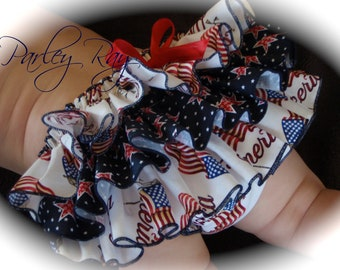 Parley Ray American Pride Patriotic Independence 4th of July Flag Ruffled Diaper Cover/ Baby Bloomers/ Photo Prop