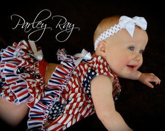 Parley Ray American Beauty Patriotic Independence Pinafore Dress with Ruffled Baby Bloomers/ Diaper Cover / 4th of July Pageants Photo Props