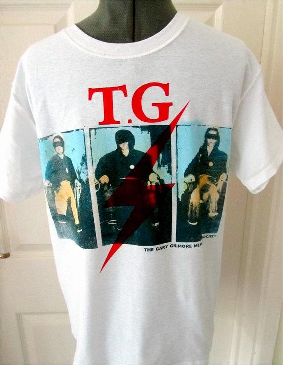 """Throbbing Gristle - Punk Tshirt - GARY GILMORE - Electric Chair - Tshirt - Mature XSm 34"""""""