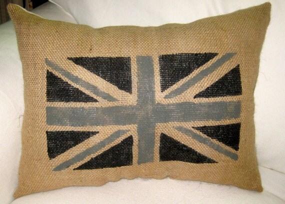 Painted Union Jack British Burlap Pillow, Shabby Chic Neutral Cushion, London Decor, English Inspired, England,