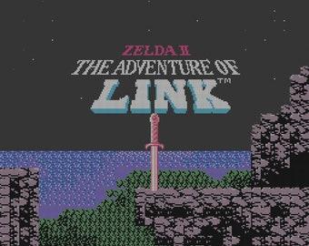 Zelda II: The Adventure of Link Title Screen cross stitch pattern
