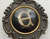 Vintage Watch Fob Celluloid and Brass Greek Letter Steampunk
