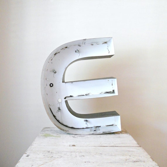 Reserved. Large Industrial Metal Letter - E, Rustic, Reclaimed
