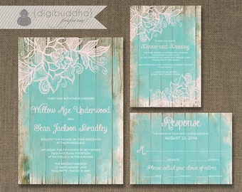 Lace Wood Wedding Invitation 3 Piece Suite Reception Response RSVP Chic Beach Aqua DIY Digital or Printed - Willow Style