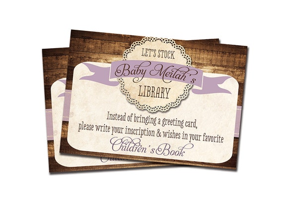 Stock the Library Enclosure Card Printable Baby Shower Bring a Book Card Rustic Lace Purple Printable File or Printed - Tracey Style