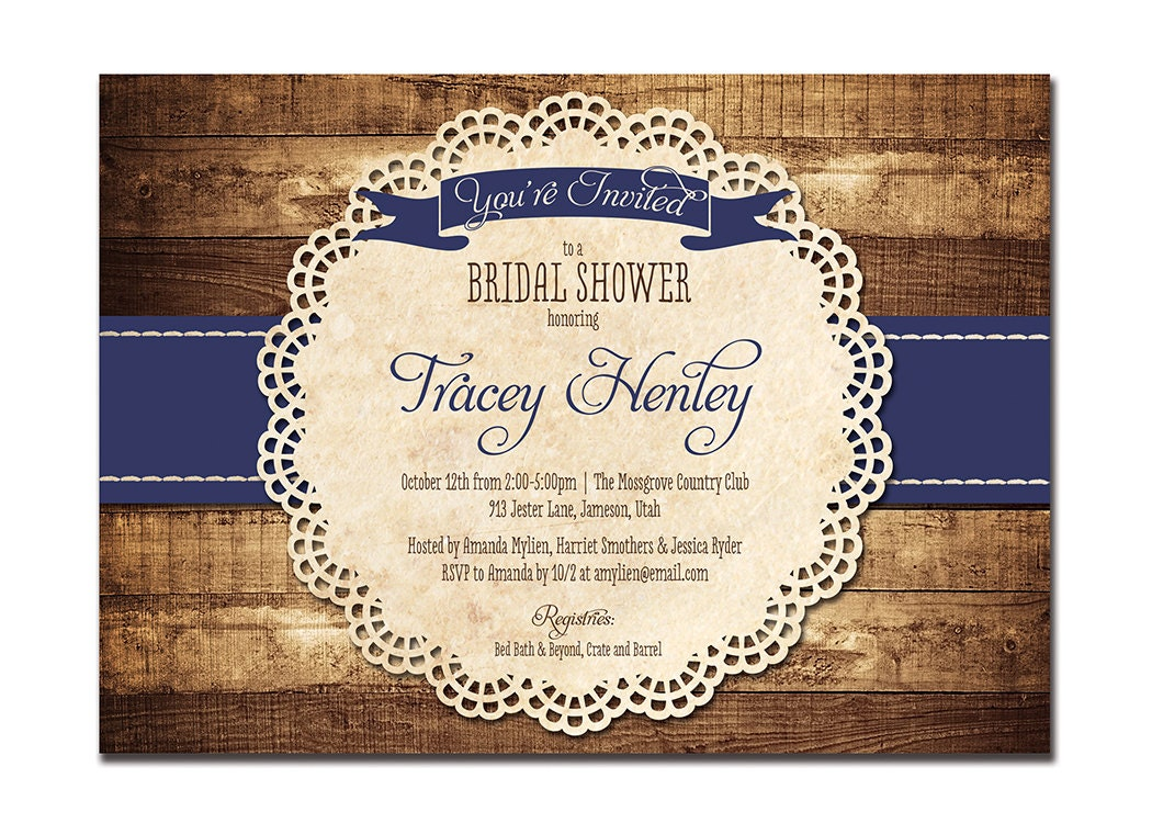 Cheap Rustic Wedding Invitations: Rustic Bridal Shower Invitation Navy Blue Wood Lace Baby