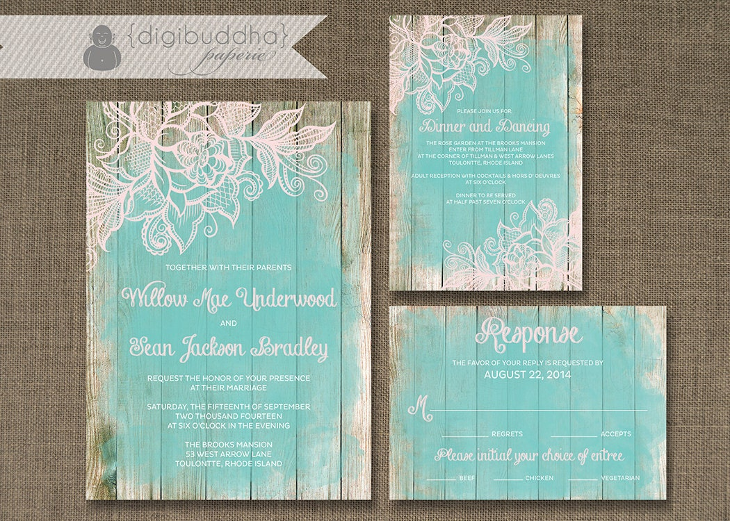 Lace Wood Wedding Invitation 3 Piece Suite Reception Response – Beach Wedding Invites
