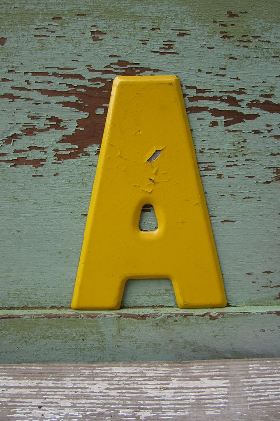 Vintage Metal Chippy Letter A Sign Yellow Sign Painted Antique Marquee Rusted Metal