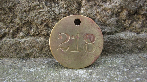 Antique Original Brass Mining Tag Number 218 Vintage Token Coal Mining Pit Checks