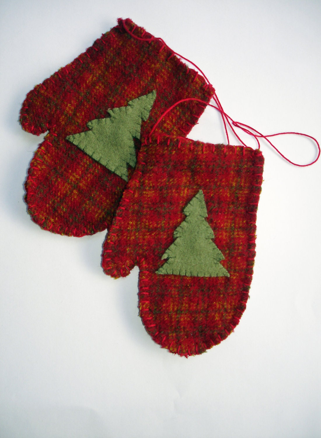 Hand Stitched Red Mitten Christmas Ornament In Plaid Upcycled